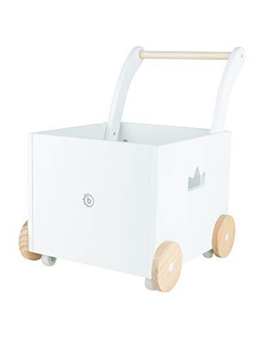 Bieco Lauflernwagen Holz   ab 1 Jahr   Multifunktionale Baby Lauflernhilfe   Laufwagen für Babys in schlichtem Design   Baby Gehhilfe   Lauflernhilfe für Babys   Baby Laufwagen mit Stauraum