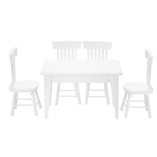 otutun Miniatur Möbel, 5 Stück Esstisch Stuhl Modell Set Puppenhaus Einrichtung Möbel Holzmöbel Tisch und Stühle für Puppe Puppenhaus Miniatur Möbel für alle Little Friends-Puppenhäuser, Weiß