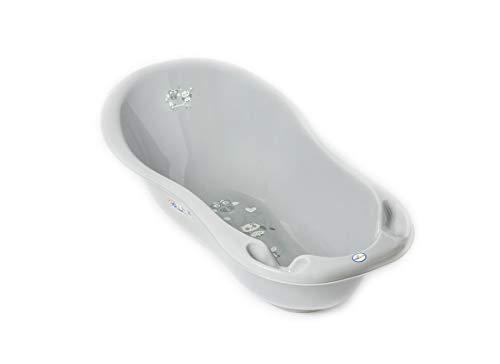 Tega Baby ® ergonomische Baby-badewanne 86cm mit integriertem Thermometer - Stöpsel zum Wasserablassen Ablaufstöpsel sicheres Baden Babybadewannen | 0-12 Monate, Motiv:Eule - grau