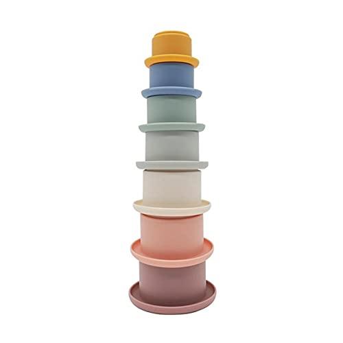 A/A 7 Stück Stapelbecher Baby Kinder Stapelturm Stapelwürfel Baby Sandspielzeug zum Sortieren und Stapeln für die frühe pädagogische Entwicklung