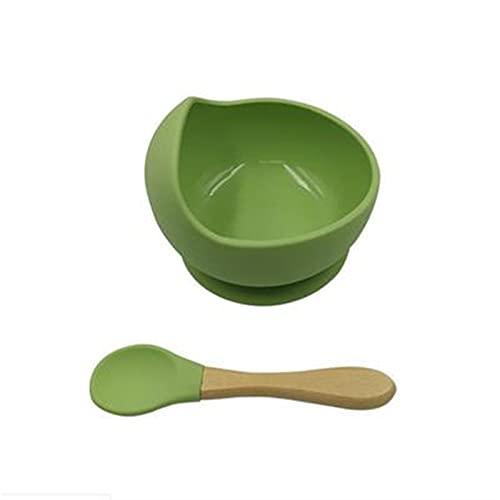 LUBINGT Baby Brei-Schale Silikon-Baby-Fütterungsgeschirr-Set rutschfeste Silikonschüssel mit wasserdichtem Löffel, Babyplatte 1 einstellen (Color : Green)