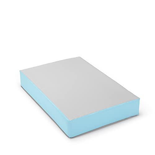 traturio Hüpfmatratze Indoor/Outdoor in tollen Farben für alle kleinen Hüpfer 107x70x17 cm (Outdoor grau/eisblau, 107)