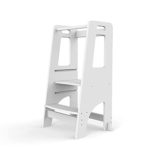 Kinderküchenhelfer Tritthocker, Chostky Küche Kindermöbel Learning Tower mit einstellbarer stehender Plattformhöhe damit Kinder sicher auf der Küchen- und Badezimmertheke stehen können (Weiß)