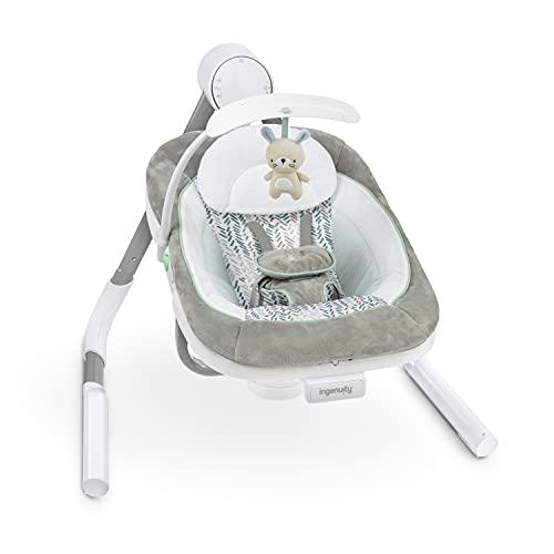 Ingenuity, AnyWay Sway, PowerAdapt tragbare Babyschaukel Spruce, Schaukel und Sitz mit Vibrationen in einem, 180° drehbar, 3 Schaukelrichtungen, mehr als 16 Melodien, USB Kabel
