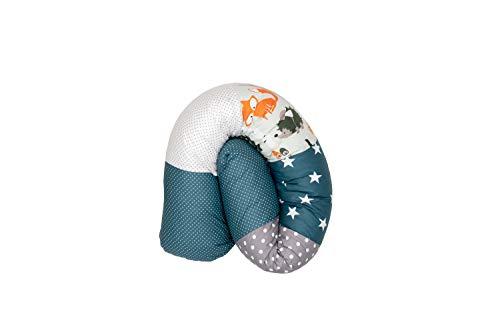 ULLENBOOM ® Baby Bettschlange 120x13 cm Waldtiere Petrol (Made in EU) - Nestchenschlange für das Babybett, Bezug: 100% ÖkoTex Baumwolle, Bettrolle zur Bettumrandung im Kinderbett, Motiv: Sterne