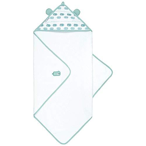emma & noah Premium Baby Handtuch mit Kapuze, Extra Weich & Groß, Doppelt Saugfähig, Oeko-TEX Zertifiziert, 100% Frottee Bio-Baumwolle, langlebig - behält Form & Farbe, 80x80cm (Wal)