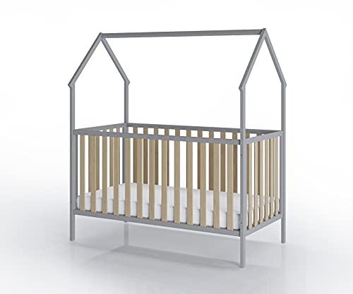 FabiMax Kinderbett Schlafmütze, 70 x 140 cm, grau/Natur, mit Matratze Classic