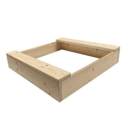 Clamaro 'Basic' Holz Sandkasten 120 x 120 cm extra stabil aus Fichte Massivholz Bohlen (26mm stark, unbehandelt), 2 Sitzflächen mit abgerundeten Kanten, verzinkte Schrauben - 100% Made in Germany