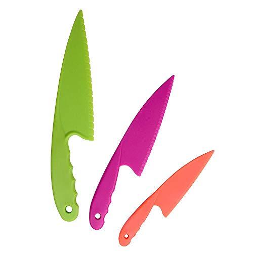 YuamMei 3er Set Kunststoff-Küchenmesser für Kinder, Kinder sicheres Nylon-Kochmesser zum Schneiden von Brot, Salate (zufällige Farbe)