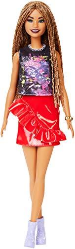 Barbie FXL56 - Fashionistas Puppe im rockigen Outfit mit Rasterlocken, Spielzeug ab 3 Jahren