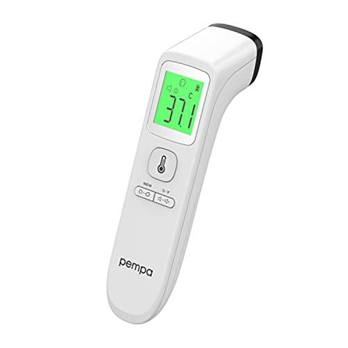 Pempa T200 Fieberthermometer - Fieberthermometer Kontaktlos, Fieberthermometer Baby, Stirnthermometer für Babys Erwachsene, LCD-Display und Speicherfunktion, Fieberalarm - Infrarot Thermometer