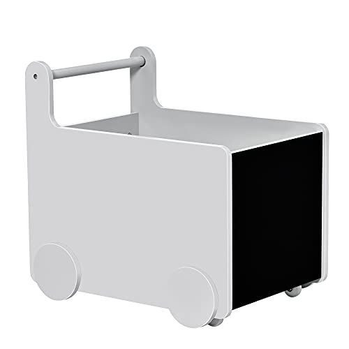 HOMCOM 2-in-1 Lauflernwagen Aufbewahrungsbox Baby Lauflernhilfe Spielzeugkiste mit Räder Griff Bücherkiste Aufbewahrungskorb für 1-4 Jahre Kinder Spielzimmer MDF-Platte Grau 47 x 35 x 45,5 cm