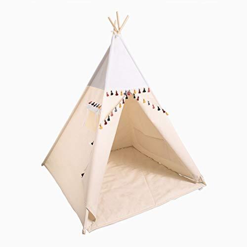 cozydots - Tipi Zelt für Kinder - Kinderzelt Zimmer Deko für Mädchen und Junge - Spielzelt mit Bodenmatte - Boho White