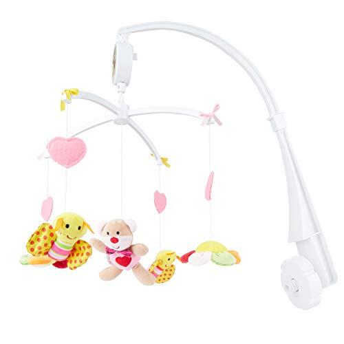 BIECO Musik Mobile Baby, Design: Bärchen Pink   Ø 31 cm, Höhe 62 cm   Baby Einschlafhilfe, Spieluhr Baby   Babybett Spielzeug   Mobile Baby Musik   Baby Toys 0-6 Months   Spielt die Melodie LaLeLu