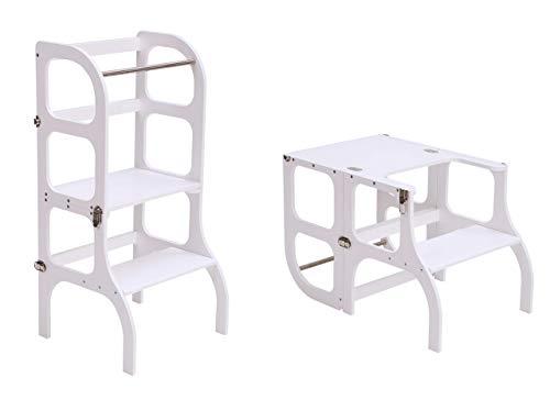 Lernturm/Tisch/Stuhl alles in einem Hocker/Montessori Learning tower, kitchen helper step stool - WHITE color/SILVER clasps