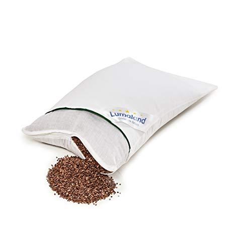 Lumaland Buchweizenkissen Kissen mit Baumwoll-Bezug Reißverschluss und Buchweizen-Füllung Naturfarben 40 x 80 cm