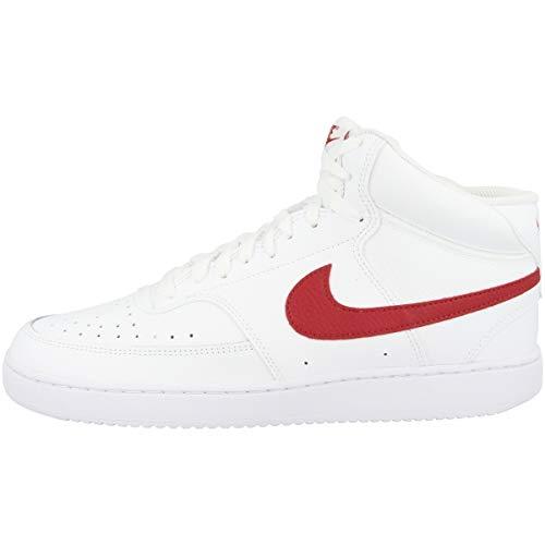 Nike Herren Court Vision MID Lauflernschuh, Weiß Uni Rot, 46.5 EU