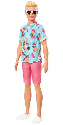 Barbie GYB04 - Barbie Ken Fashionistas Puppe (blond) mit Sonnenbrille, Hawaiihemd, Shorts und Schuhen, Spielzeug für Kinder von 3 bis 8 Jahren
