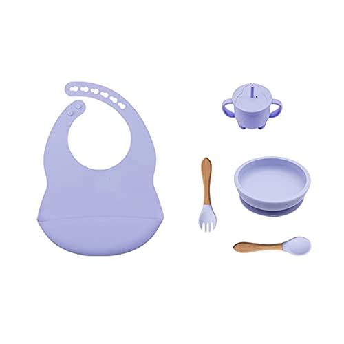 LUBINGT Baby Brei-Schale 6pcs. Baby-Fütterungsgeschirr BPA Kostenlose Lebensmittelqualität Silikonschüssel Lätzchen Tischsat Gabel Löffel Fütterung Cup Set Babybedarf for Kinder (Color : Light Green)