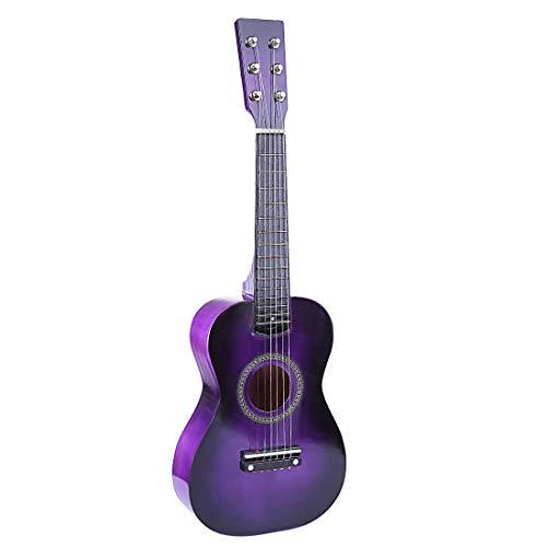 DSXX 23 Zoll Kinder Holzgitarre, 6 Saiten Gitarre Musikinstrument Spielzeug, Musikgitarre Anfänger Spielzeug - Lila