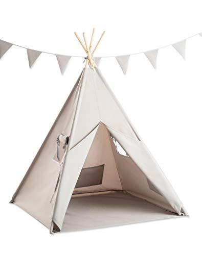 cozydots - Tipi Zelt für Kinder, Kinderzelt - Wasserdicht Set Indianerzelt für Kinder Outdoor und Indoor - Jungen - Grau