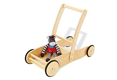 Pinolino 269376 Lauflernwagen Uli, aus Holz, mit Bremssystem, Lauflernhilfe mit gummierten Holzrädern, für Kinder von 1 – 6 Jahren, natur