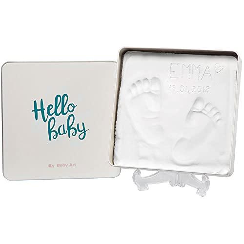 Baby Art Magic Box, Gipsabdruck Geschenkbox aus Metall, für Baby Handabdruck oder Fußabdruck, tolles Erinnerung Andenken, DIY Geschenke Box mit Gips-Abdruck inkl. Aufsteller, Eckig, Essentials