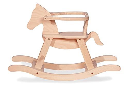Schaukelpferd Pinolino mit Ring, aus massivem Holz, Ring abnehmbar, Umbausatz enthalten, für Kinder ab 9 Monaten, unbehandelt
