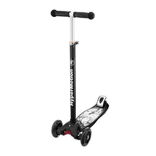HyperMotion, Dreirad Balance Scooter für Kinder über 5 Jahre, Roller mit LED-Rädern für Jugendliche, Tretroller Dreiräder mit höhenverstellbarem Lenker für Mädchen und Jungen, Schwarz mit Muster
