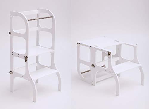 Multifunktionaler Lernturm'Step'n sit' nach Montessori in Weiß/Tisch und Küchenhelfer in Einem/CE-Zertifiziert/Made in EU (Weiß)