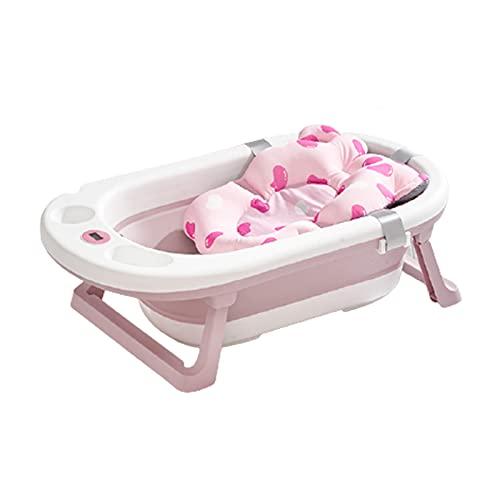 MNBVH Klappbare Badewanne Baby, Babybadewanne mit Gestell, Kinderbadewanne mit Baby Badekissen, Badenetz und Echtzeit-Temperaturanzeige, Anti-Rutsch Tragbare Kinder und Neugeborene Badewanne