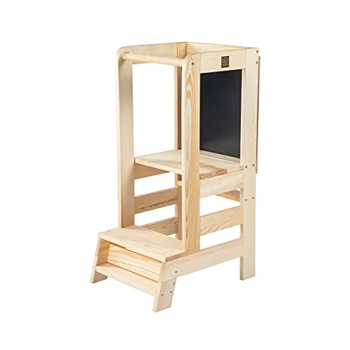 MEOWBABY Lernturm für Baby Kinder Mit Einer Tafel Kinder Schemel aus Holz Lernstuhl Montessori Küchenhelfer Naturholz Learning Tower Waldorf Pikler Made in EU