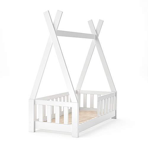 VitaliSpa Kinderbett Tipi Hausbett Indianer Bett Kinderhaus Massivholz Zelt Holz mit Zaun 70x140cm (Weiss)