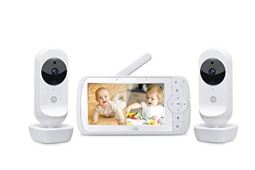 Motorola Ease 35-2 Babyphone mit 2 Kameras 5,0 Zoll Video Baby Monitor HD Display - Nachtsicht, Zwei-Wege Kommunikation, Wiegenlieder, Zoom, Raumtemperatur - Weiß