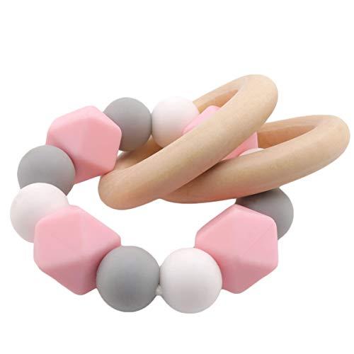 Beißring mit Holzring und Silikon Perlen