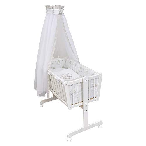 Baby Delux Wiegenset Bettwäsche Set 6-tlg Wiegengarnitur für Babywiege Ausstattung 40x90 Cute Teddy