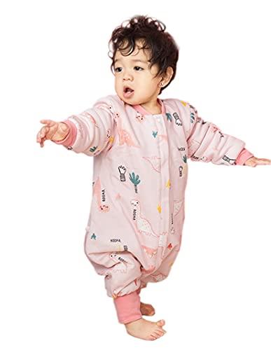 Chilsuessy Baby Schlafsack mit Füßen abnehmbar Langarm Winter Schlafanzug Bio Baumwolle Winter Babyschlafsack Kinder Schlafsack für Junge Mädchen, Rosa Dinosaurier/2.5 Tog, L/Baby Höhe 95-105cm