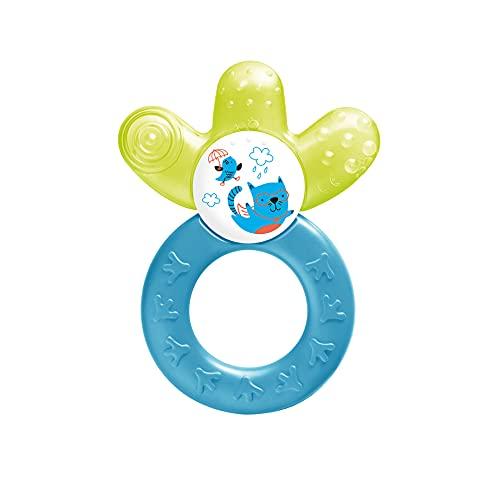 MAM Cooler New, Beißring für Babys fördert Sehsinn & Motorik, Greifling mit Wasserkühlteil erreicht auch die Backenzähne, ab 4+ Monate, gelb/blau