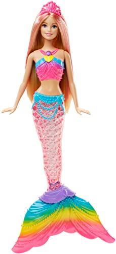 Barbie DHC40 - Dreamtopia Regenbogenlicht Meerjungfrau Puppe mit Lichtershow, Spielzeug für die Badewanne, Spielzeug ab 3 Jahren, Mehrfarbig