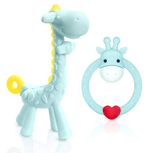 TitaCare BPA Free 2 Silikon Giraffe Baby Beißring Spielzeug mit Aufbewahrungskoffer, für 3 Monate über Zahnfleischschmerzen Schmerzlinderung, Set mit 2 verschiedenen Beißspielzeugen (Blau)