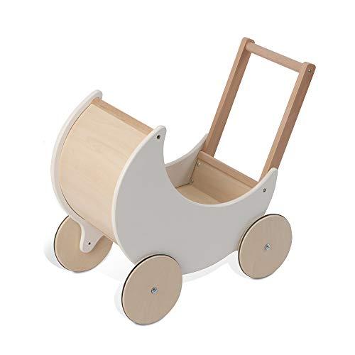 wuuhoo® I Lauflernwagen Puppenwagen Lou aus Holz in weiß mit gummierten Rädern und Stütze I Lauflernhilfe für Mädchen und Jungen ab 3 Jahren I Baby und Kinderspielzeug