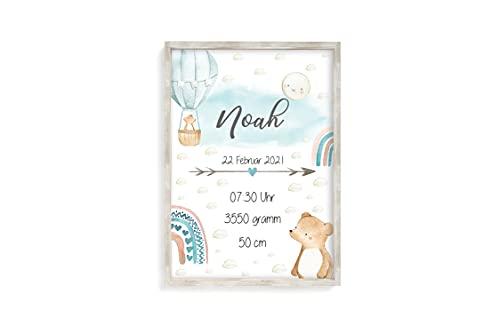 Geburtsanzeige Geburtsdaten Geburtsposter Poster Personalisiert Geburt Geschenk Geburtsbild Baby Kunstdruck mit Namen A4 (Junge)