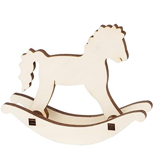 Schaukelpferd Holz Holzspielzeug Schaukeltier Pferd Pferdchen 11 x 11 cm