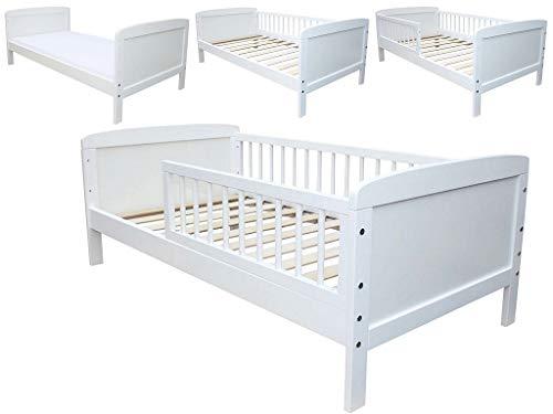 Micoland Kinderbett Juniorbett 140x70 cm umbaubar Weiss
