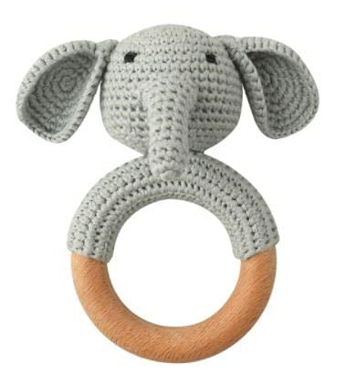 Beißring gehäkelt mit integrierter Babyrassel, Greifling Baby Holz und Baumwolle, gehäkeltes Kuscheltier, Geschenk zur Geburt, Babyparty, Handmade Baby Rassel (Elefant)