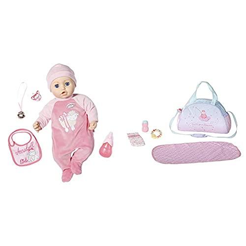 Zapf Creation 702475 Baby Annabell Puppe Annabell mit lebensechten Funktionen und Zubehör 43 cm, rosa & Wickeltasche für 43cm Puppe - Leicht für kleine Hände, Kreatives Spiel fördert Empathie