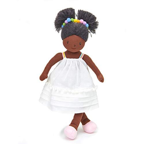 ThreadBear Design Esme Stoffpuppe mit weißem Kleid und Regenbogen-Pompoms und Geburtstagsgeschenk für Kinder ab 3 Jahren