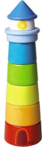 HABA Stapelspiel Leuchturm mit farbenfrohen Holzsteinen