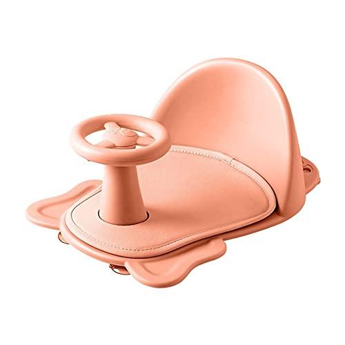 ALUNVA Badestuhl Baby-Badesitz kann sitzen Legetieren Neugeborenen rutschfeste runde Badewannensitz mit rutschfestem Weichmatte Universal Safety Support Badestuhl (Color : Pink)