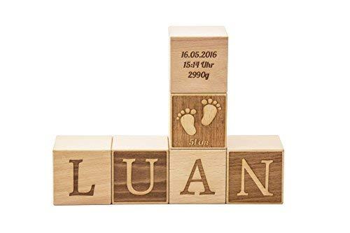 Namenswürfel/Babywürfel aus Buche mit Gravur 4 oder 6 cm Kantenlänge - Geschenk zur Geburt/Taufe (6 cm Kantenlänge - Preis pro Würfel)